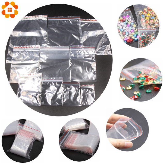 100PCS Multi Size Transparent Resealable Cellophane OPP Self Adhesive Plastic Seal Bags For Candy Cookie Resealable Packaging