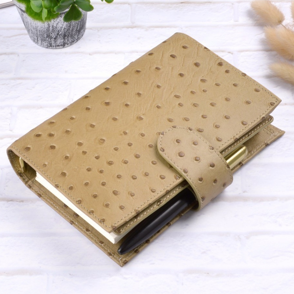 Genuine Leather Binder Rings Notebook Personal Size Agenda Organizer Cowhide Diary Journal Sketchbook Planner With Money