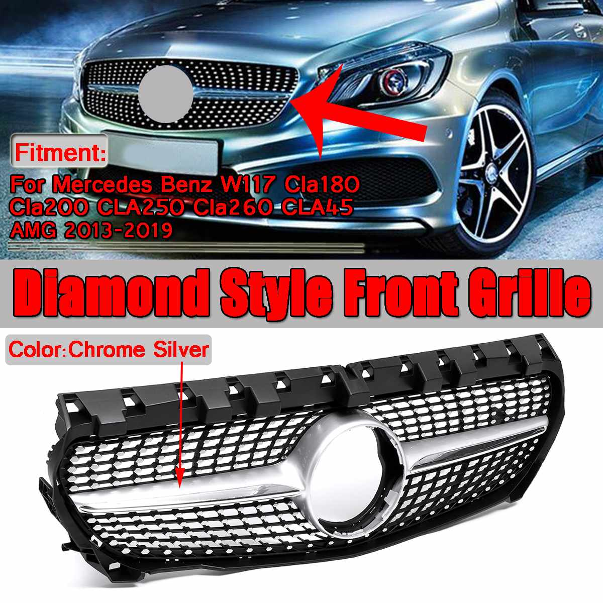1x Новый Алмаз Стиль автомобилей Передняя решетка гриль для Mercedes Benz W117 CLA180 CLA200 CLA250 CLA260 CLA45 Для AMG 2013 2019