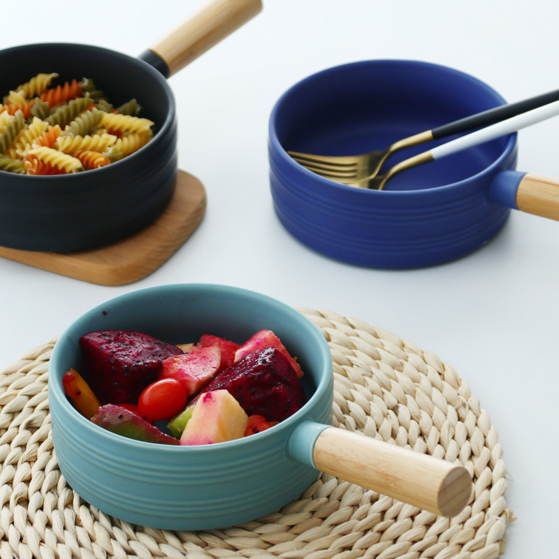 Nordic Ceramic Soup Rice Bowl Sigle Wooden Handle Pan