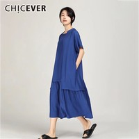 7c813d63463e CHICEVER Summer Casual Solid Women Dress Asymmetrical Collar Short Sleeve  Pockets Loose Plus Size A Line. CHICEVER Mulheres Vestido ...