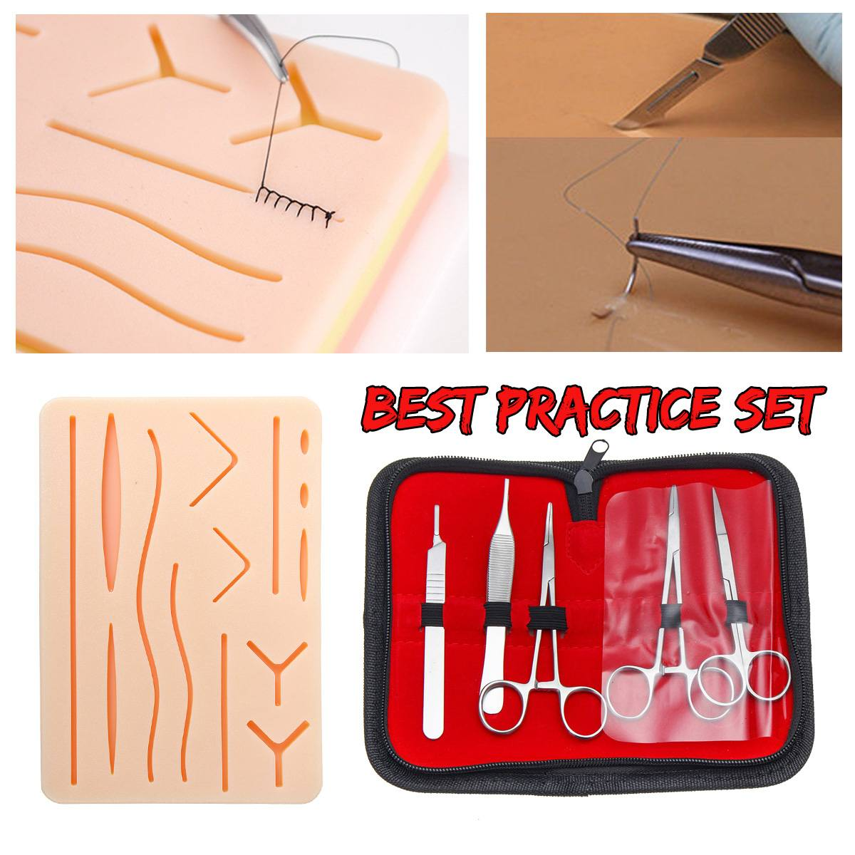 Kit de formation de Suture médicale modèle de pratique de Suture de la peau ensemble de Pad de formation de Suture ciseaux à aiguilles pince à épiler docteur infirmière enseignement - 3