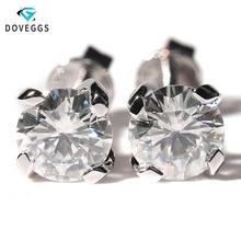 DovEggs 18K 750 White Gold Center 5mm 1CTW FG Color Moissanite Stud Earrings Screw Back for Women Solid Ladies