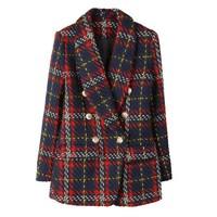 Fashion 2018 Vintage Blazer Jacket Women Double Breasted Lion Metal Buttons Plaid Tweed Wool Blazer