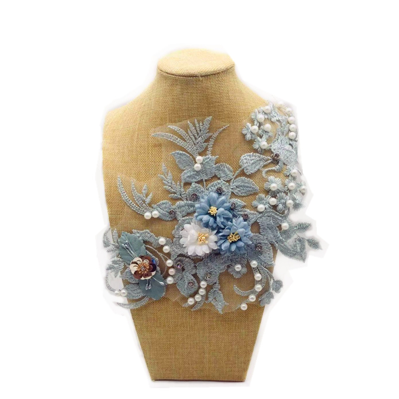 Heavy Industry Beaded Embroidered Lace Flower Handmade Three-dimensional Embroidery Cloth DIY