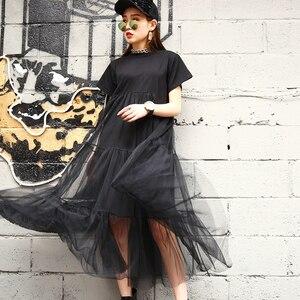 Image 4 - [Gutu] أزياء الصيف الجديدة 2017 حجم كبير أسود خياطة صافي الغزل جولة طوق قصير كم حجم كبير فضفاض ثوب المرأة 3361.5XL