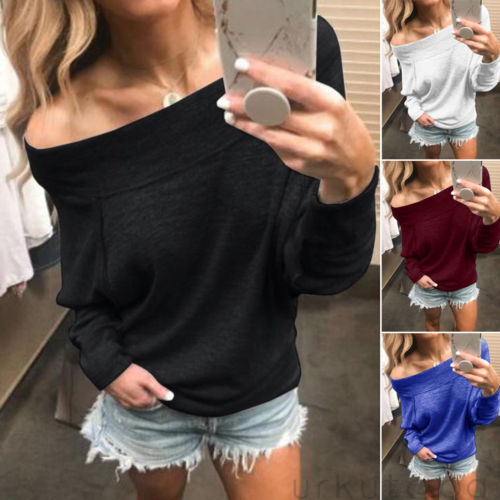 Womens Hoodies Fashion Long Sleeve Solid Color Off The Shoulder Loose Tops Sweatshirt Ladies Jumper Autumn Tops Womens 2019 Hot