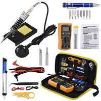Kit de Ferro de solda Com Temperatura Ajustável de Solda Ferramenta Conjuntos de Ferramentas de Mão Multifuncional Tela LCD Multímetro Digital