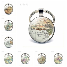 American Cities Map Glass Pendant Keychain Los Angeles Pittsburgh San Francisco Fashion Souvenir Keyring Jewelry Traveler Gift