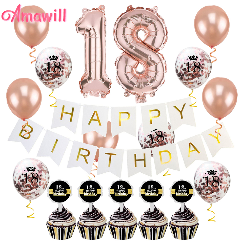 Amawill 18th Birthday Party Decorations Kit For Rose Gold
