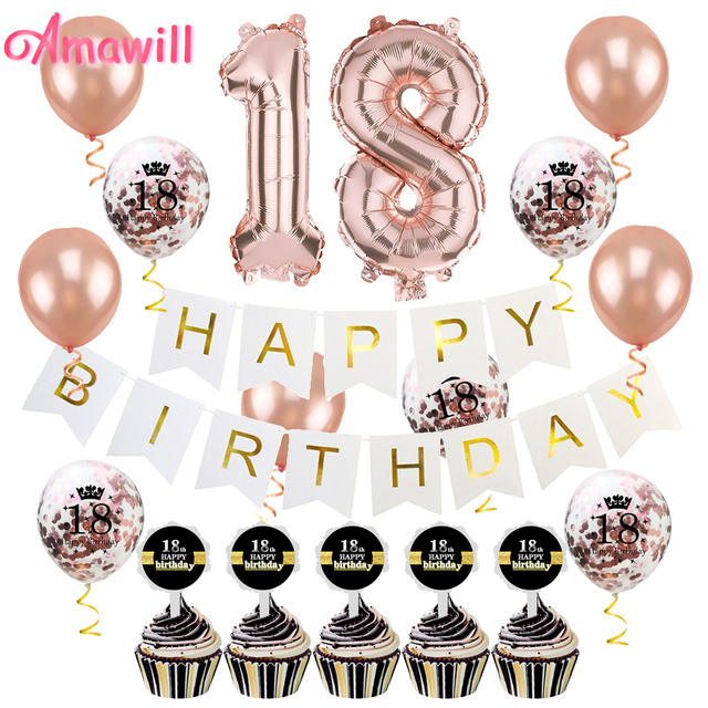 Amawill 18th Birthday Party Decorations Kit For Rose Gold 32inch Foil Balloon Cake Topper White Paper Banner Happy 8D
