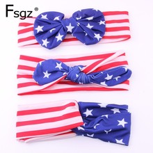 Fashion Fabrics Striped Star Print Tie Headbands For Children Girl Hair Band Accessories American Flag Color Bandage For Baby kids striped and star flag print vest dress