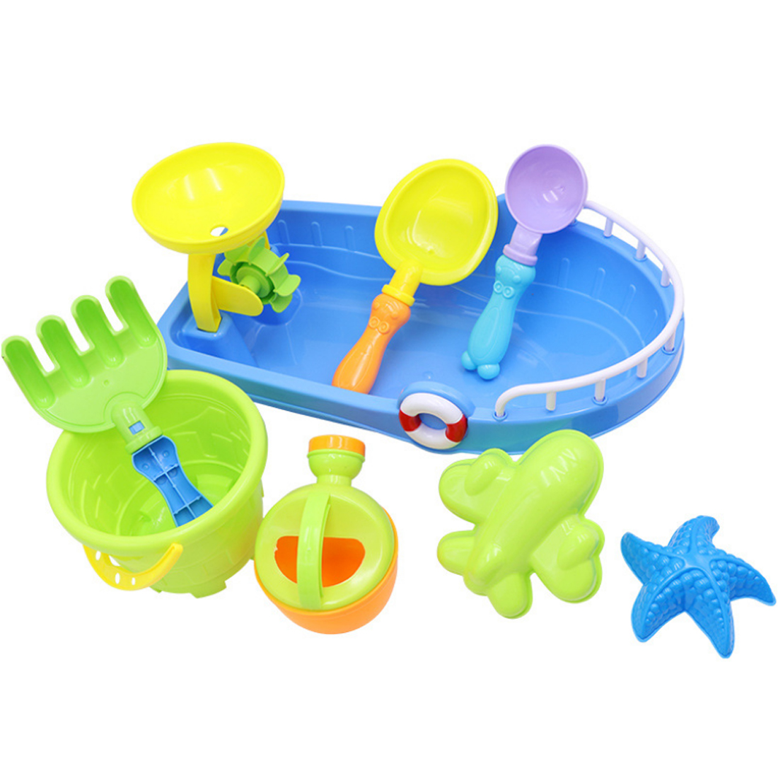 NFSTRIKE 9Pcs Children Outdoor Beach Sand Toy Boat Play Tool Playset Kids Beach Sand Toys Set - Random Color