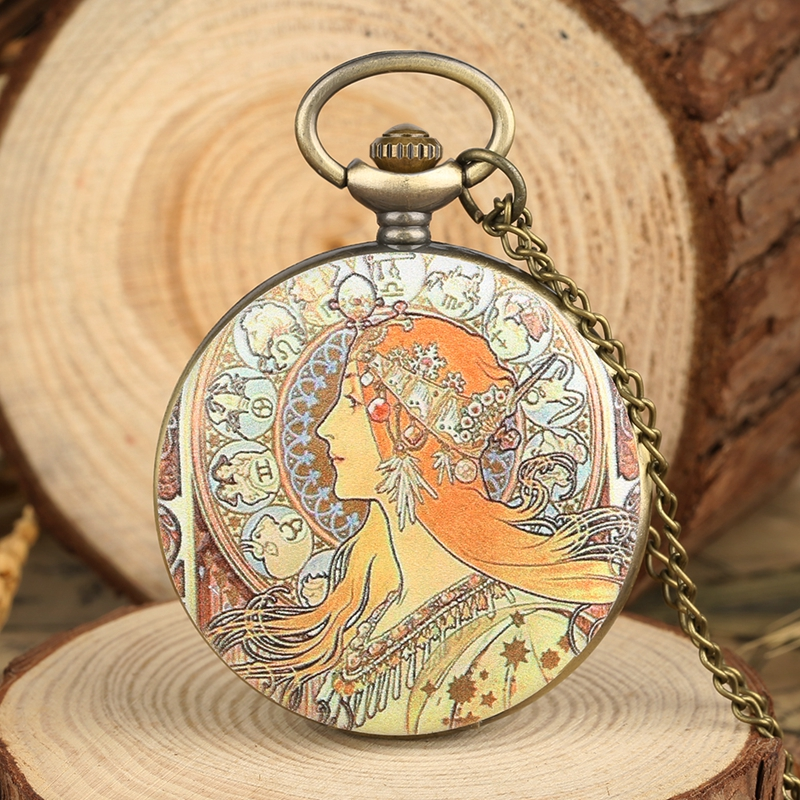 Elegant Beauty Face Design Quartz Pocket Watch Unique Pendant Jewelry Necklace Sweater Chain Hour FOB Clock For Women Girls Mom