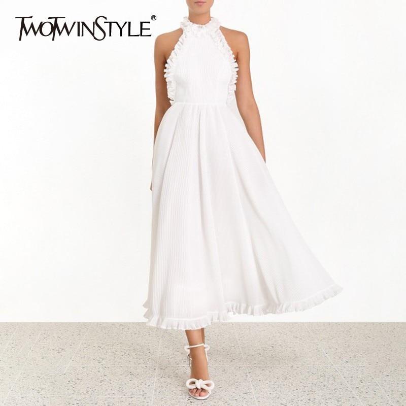 TWOTWINSTYLE drukuj Off sukienka na ramiona dla kobiet Halter wysoka talia Ruffles sukienki midi kobiet elegancki wiosna 2019 moda nowy w Suknie od Odzież damska na  Grupa 1