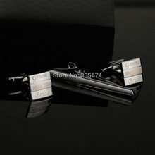 цена на CT-011B Customized Name Cufflink Personalized Engraving Metel Wedding Tie Clips And Cufflinks For Mens With Gift Box