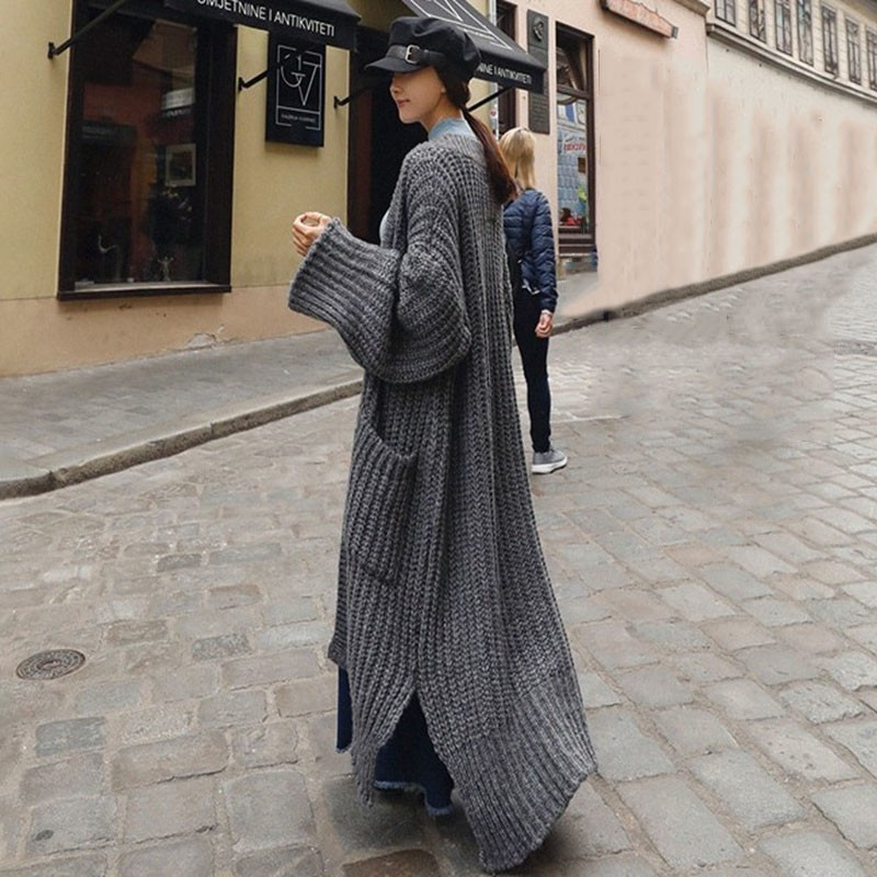 TWOTWINSTYLE Tricot Cardigan Femme Col V À Manches Longues Long Pull Femmes Chandail Surdimensionné Plus Épais 2019 Printemps Mode