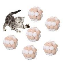 6PCS Mini Handmade Plush Elastic Bell Ball Cat Toy Set Creative Funny Interactive Play Kitten Dog Pet Supplies
