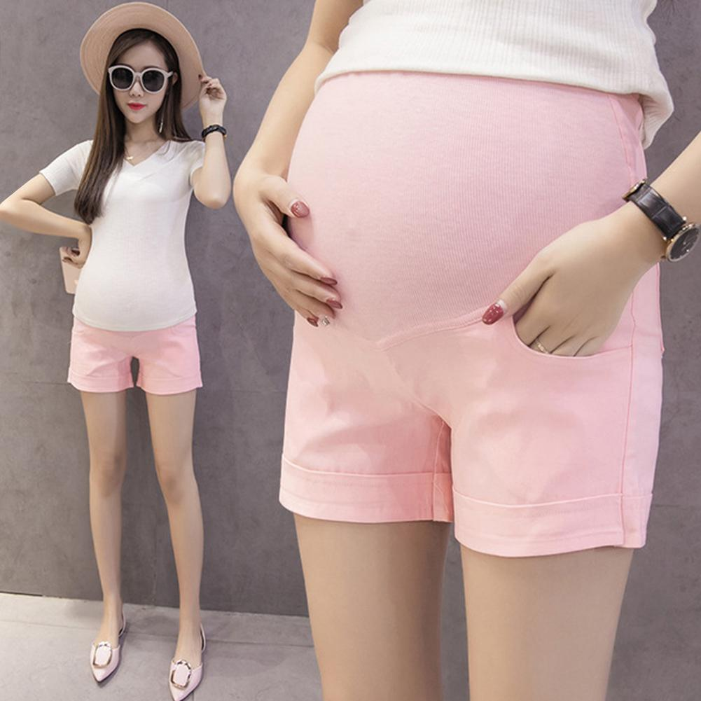 Kidlove Casual Solid Color Shorts for Pregnant Woman Support Abdomen title=