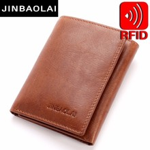 Genuine Leather Men Wallet Small Walet Hasp Male Portomonee Short Card Holder Brand Perse Carteira For Rfid 3 Fold Wallets