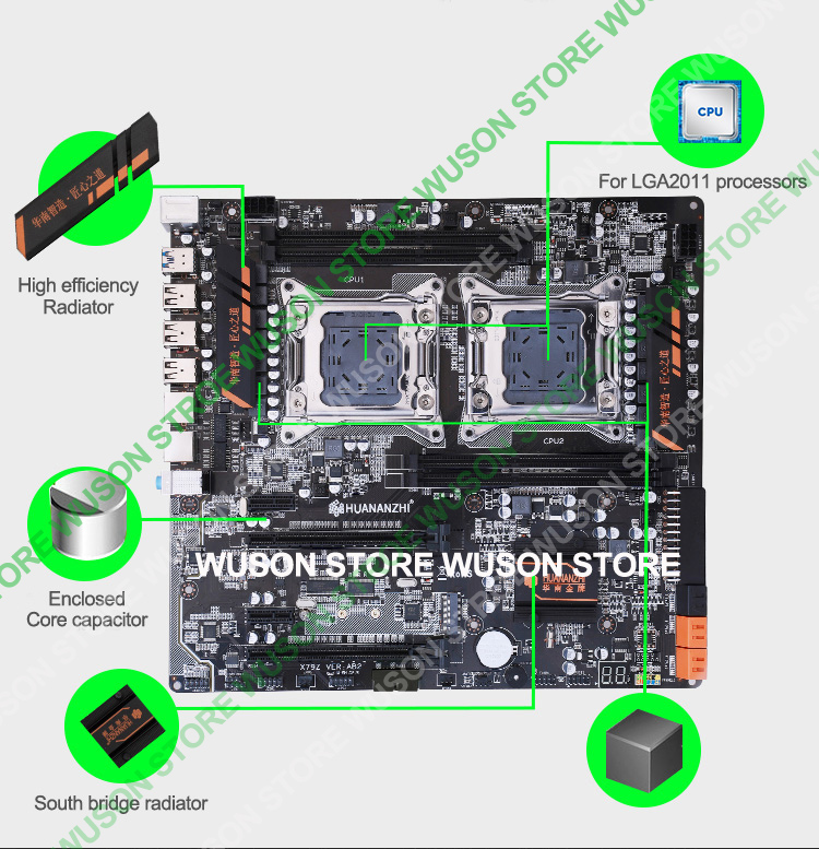 Discount HUANAN ZHI dual X79 motherboard with M.2 slot discount motherboard with CPU Intel Xeon E5 2690V2 3.0GHz RAM 64G(4*16G)
