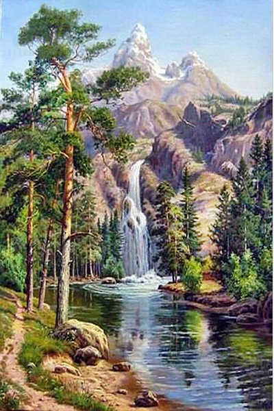 Scenery tree landscape village train DIY Crystal full drill square 5D diamond painting cross stitch kit mosaic round rhinestone