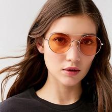 YOKS 2019 New Metal Round Mirror Sunglasses European Trend Ocean Beam Shades Sun Glasses Pink Women Hipster Point Green W02