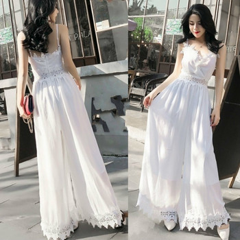цена на White Solid Chiffon Jumpsuits Women Lace Patchwork Wide Leg Ankle Length Strapless Pants Fashion Female Jumpsuit