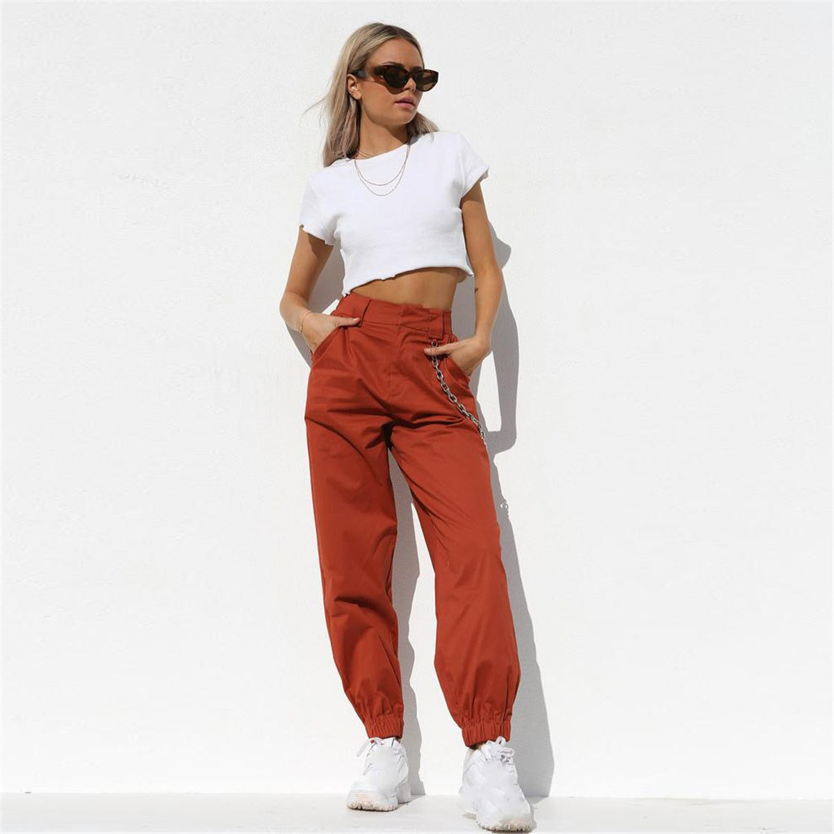 Streetwear Cargo   Pants   Women Casual Joggers Black High Waist Loose Trousers Korean Style Ladies   Pants     Capri