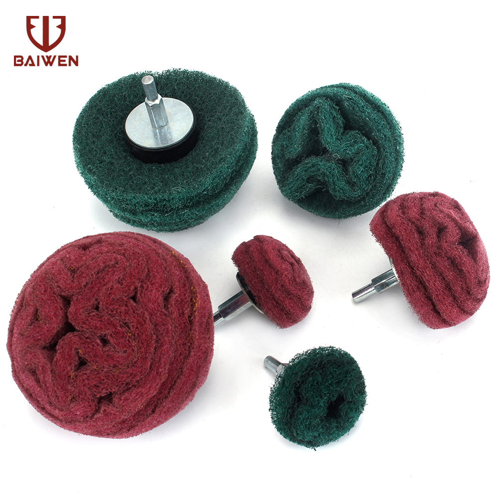 6Pcs Scouring Pad Grinding Head Nylon Fiber Polishing Buffing Wheel For Drill Dremel Accessorie 6mm Shank