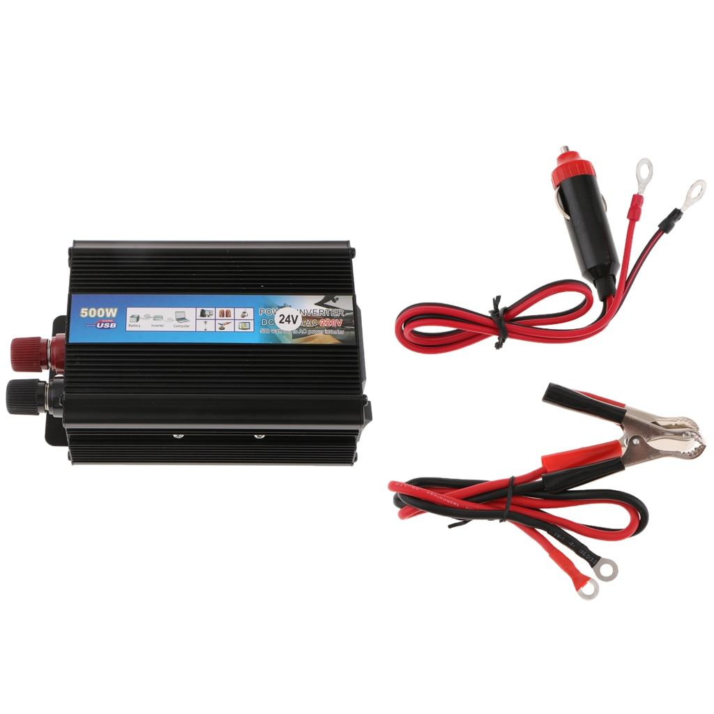 Alumiun Housing 500W Car Power Inverter Charger 24V to 220V Power Converter Power Adapter Charger Black