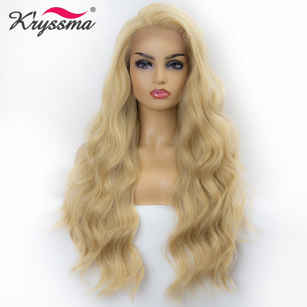 Blonde Wig for Women Synthetic Lace Front Wig Long Wavy Mixed 613 Wigs for Women Free