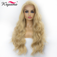 Blonde Wig for Women Synthetic Lace Front Wig Long Wavy Mixed 613 Wigs for Women Free Part Natural Hairline 22 Inch Natural Hair