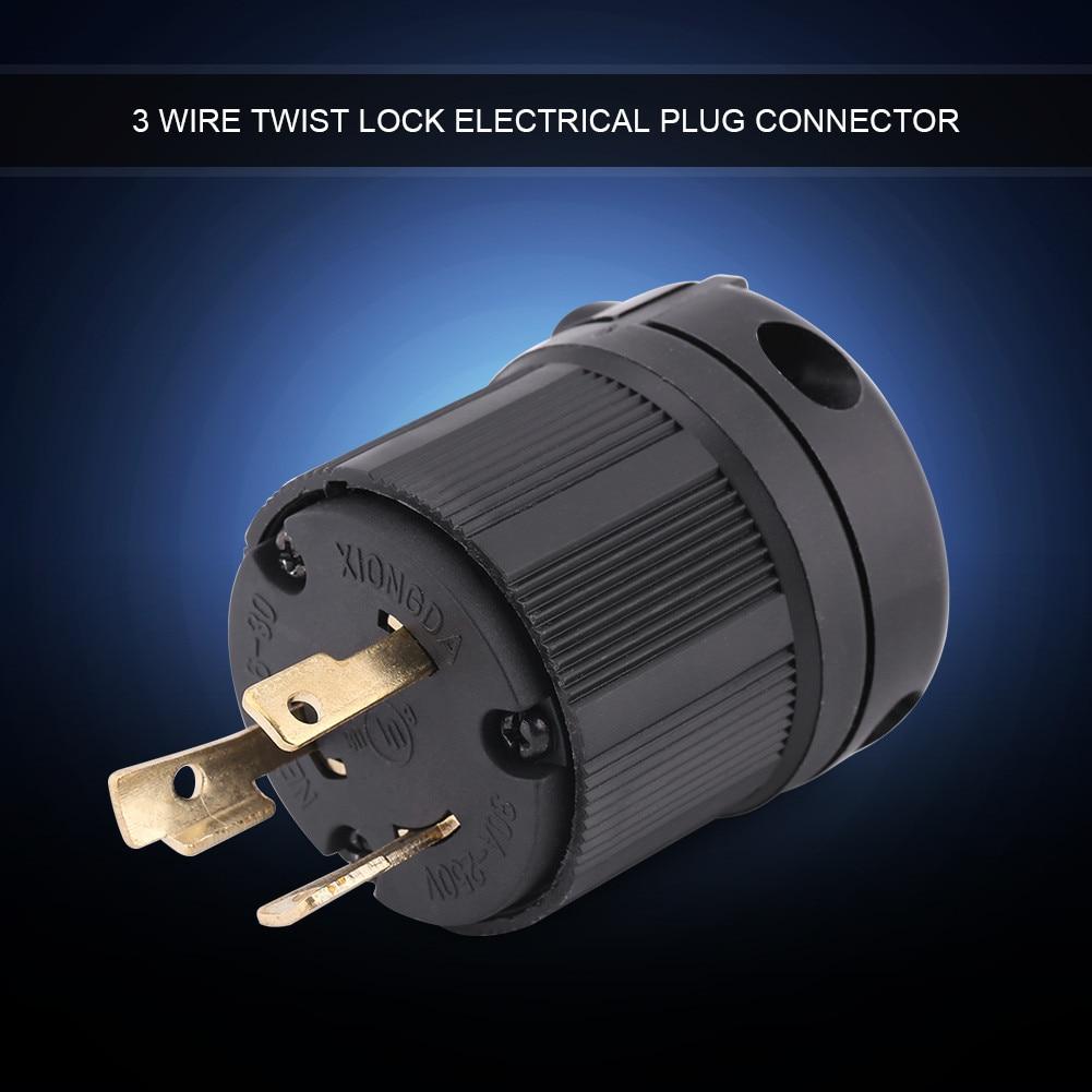 NEMA L6-30P 4 Wire Twist Lock Generator Plug 30A 125V-250V Plug Connector HOT