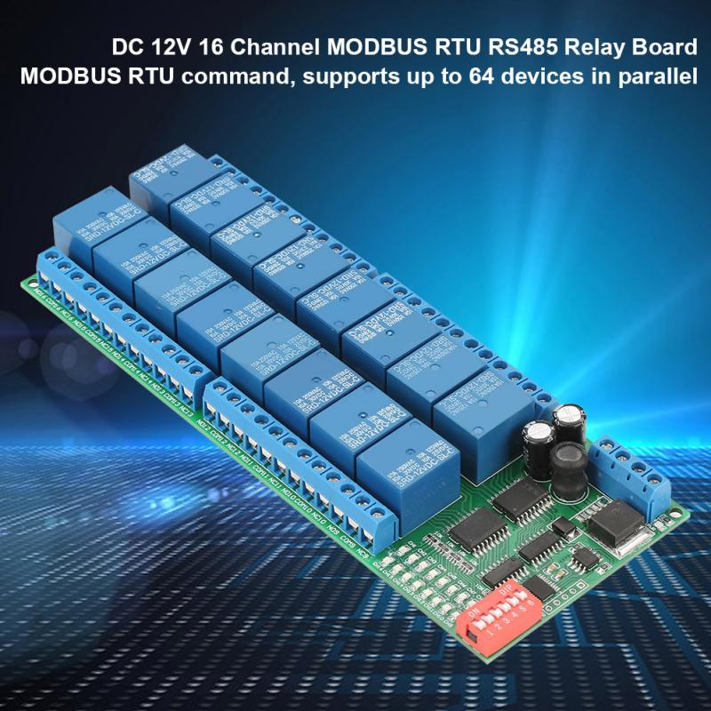 DC 12V Realy 16 Channel RS485 Relay Module  RTU Relay Board PLC Controller Serial Port Switch 485 Relais