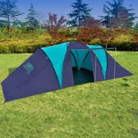 vidaXL Large Outdoor Camping Tent Hiking Traveling Beach Family Tents Waterproof 3 Rooms 1 Hall for 9 Persons Three Seasons