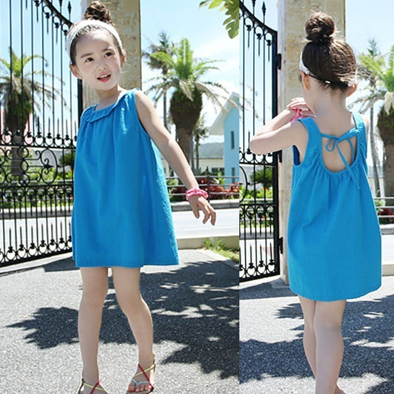 Backless Little Girls Summer Clothes Dress 100% Cotton Big Kids Baby Girls Dresses 2019 Blue Beach Holiday Clothes New Arrive