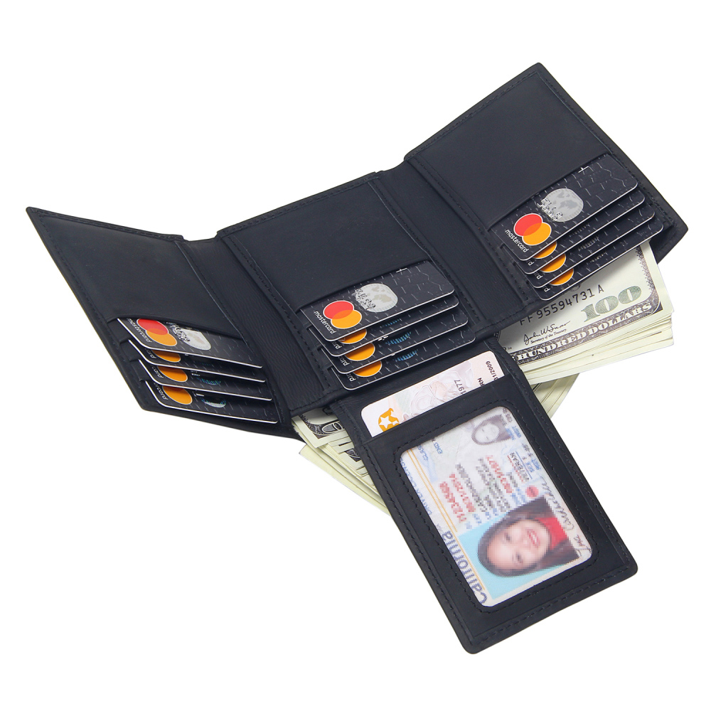 RFID Men Wallets Genuine Leather Trifold Black Wallets Male Solid Multi Card Slots Purse Small Short Wallet For Credit Cards
