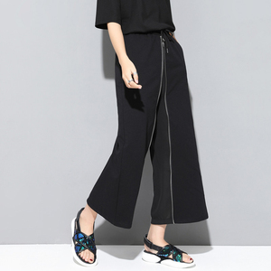 Image 2 - [EAM] 2020 New Spring Autumn High Elastic Waist Black Zipper Split Joint Personality Loose Pants Women Trousers Fashion JS994