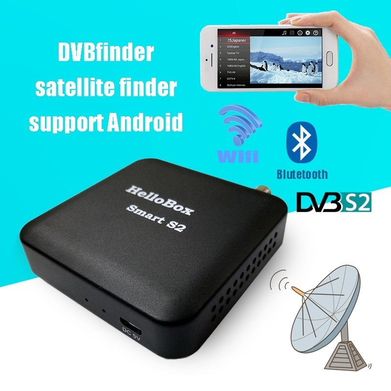 Hellobox Smart S2 DVBfinder Satellite Finder DVB S2 Receiver TV Player On Android Device With Wifi