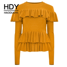 HDY Haoduoyi Simple fashion, pure color, sweet wind, lotus leaf trim knitted long sleeve sweater