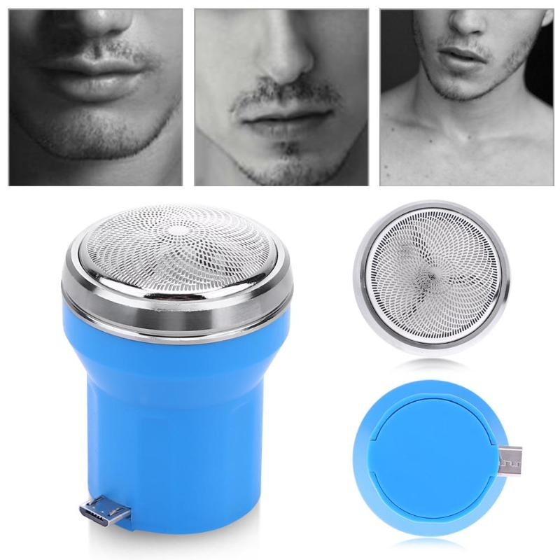 1pc Blue Plastic Electric Shaver Mini Portable Men Razor Metal Cellphone USB Chargeable Shaver Cleaning Tools in Razor from Beauty Health