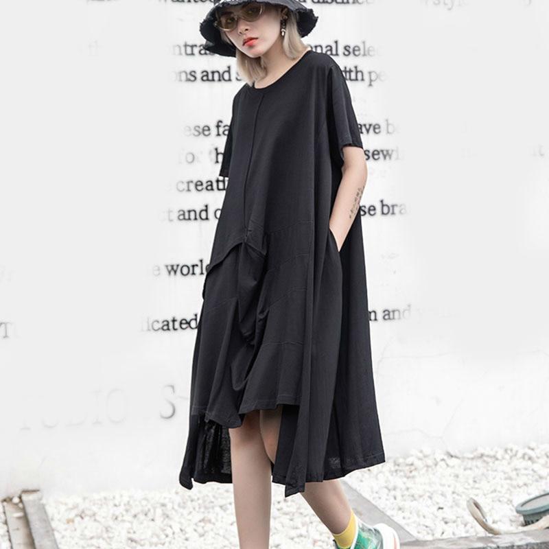 9588446a86 Grande Courtes As612 Dos Taille Nœud Marée Manches Femmes Rond Robe Mode  Black Tvvovvin Lâche Irrégulière ...