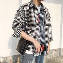Spring New Plaid Shirt Men Fashion Casual Dress Man Streetwear Trend Wild Loose Long-sleeved Male Clothes S-2XL