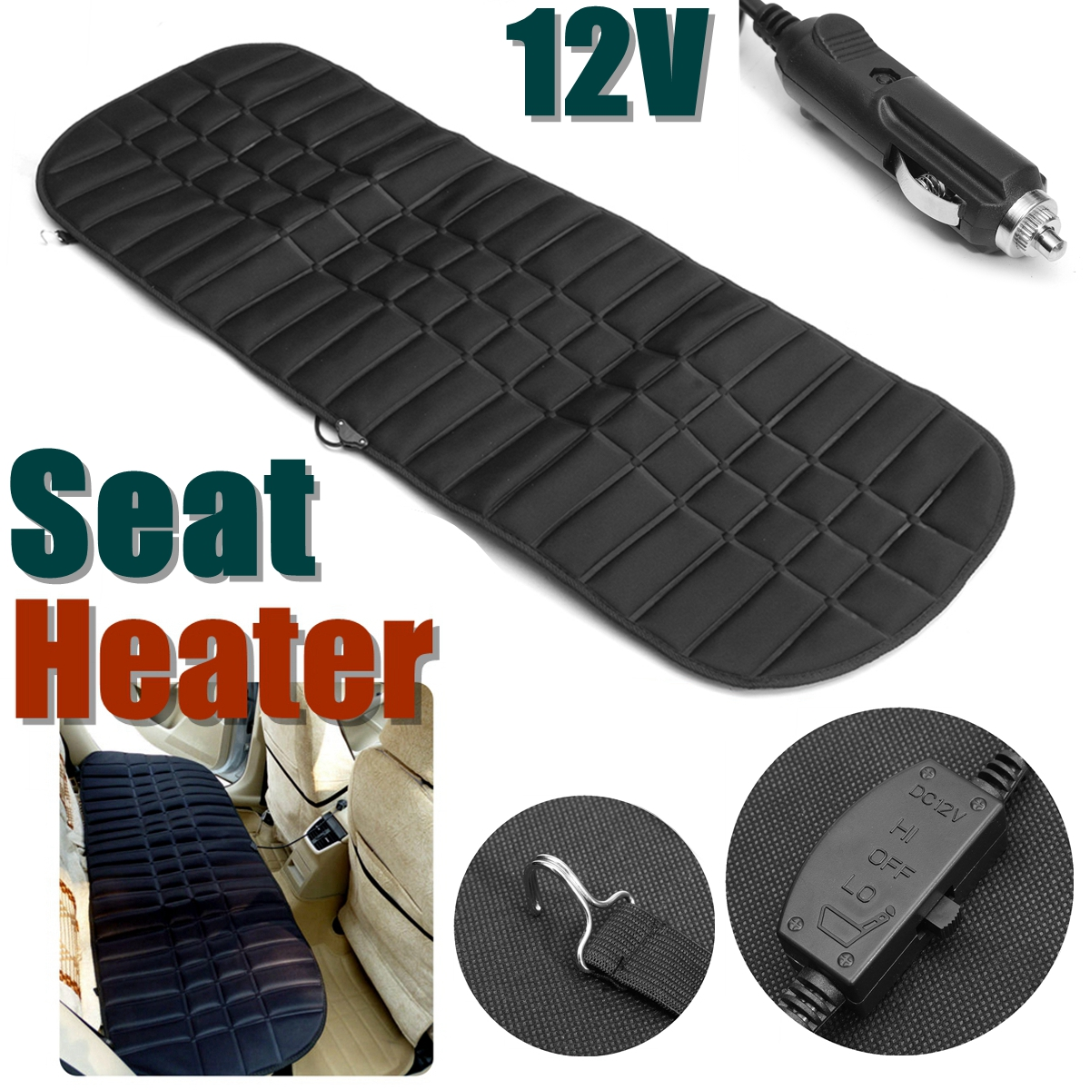 Rear Back Heated Heating Seat Cushion Cover Pad 12v 42W Winter Car Auto Warmer Heater Automotive Accessories pillowcase classic style wave pattern car comfy back cushion cover