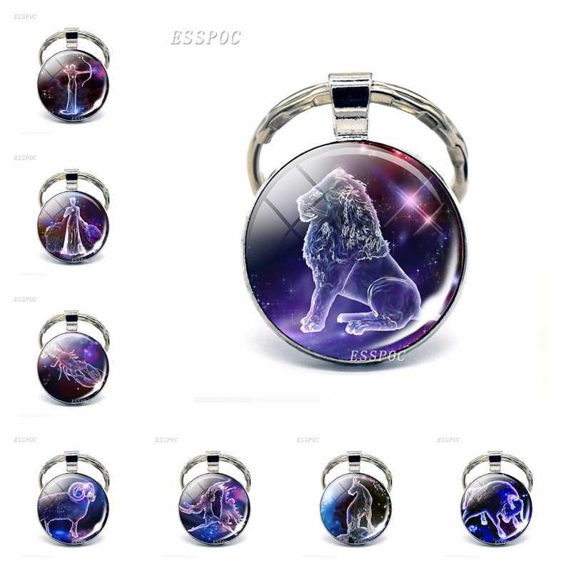12 llavero constelación Zodiaco signos vidrio colgante Escorpio Sagitario Capricorn Aquarius aleación llavero joyería cumpleaños regalos