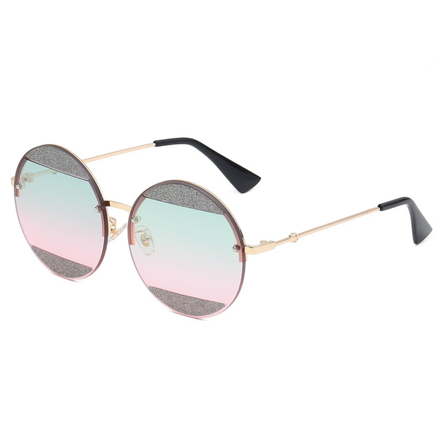72acaf34c4db New Shiny Round Sunglasses Women Clear Glitter Shiny Brand Sexy Cool Sun Glasses  Female Vintage Celebrity Party Travel Sun Shade