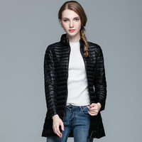 Spring Padded Warm coat Woman Ultra Light Duck Womans Down Jacket Long Female Overcoat Slim Solid Jackets Winter Portable Parkas