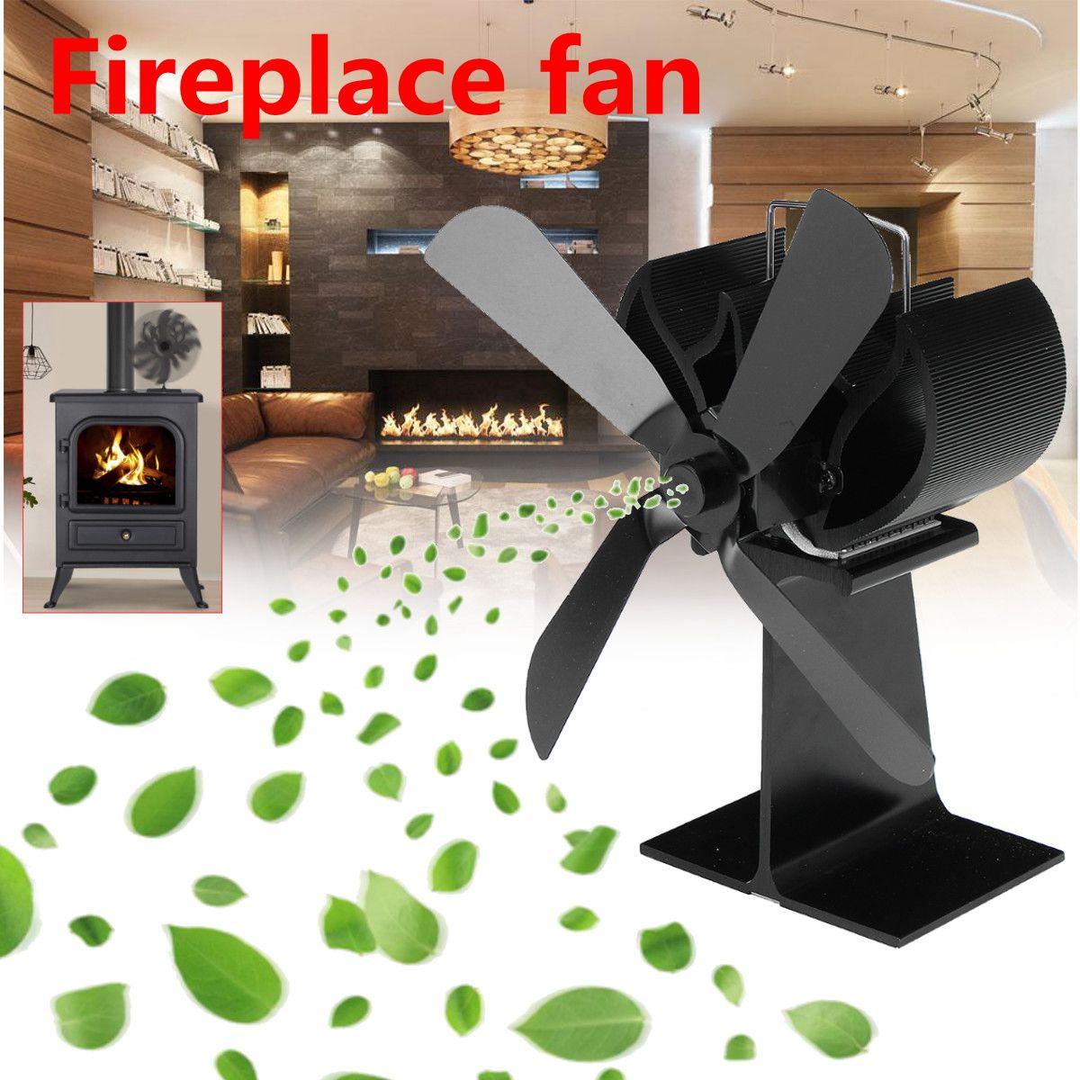 Черная плита вентилятор 4 лезвия Вентилятор для камина тепла питание komin древесины горелки экологический вентилятор дружественных тихий до...
