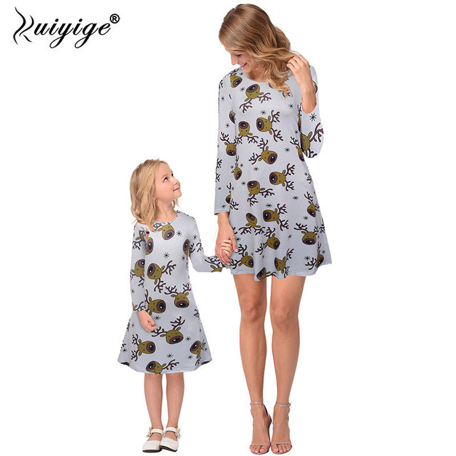 d633201cfb8d6 Ruiyige 2018 Mother Daughter Dress Family Christmas Pajamas Women Girls  Party Dresses Mother And Daughter Matching Clothes